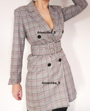 Klassisch elegantes Blazerkleid grau kariert british Minikleid tailliert Dadblazer oversized Mantelkleid Tuxedo Dress