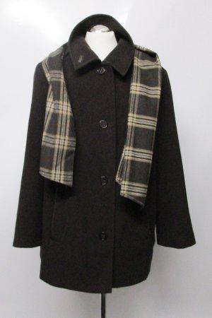 Klassisch Übergangsmantel Mantel mit Schal Lebek Größe kleine 44 Braun Dunkelbraun Wollmantel Kurzmantel Karomuster