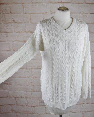 Klassisch Zopfmuster Strickpullover Dress In Größe 40 42 Weiß Wollweiß V-Neck Strick Pulli