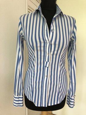 Caliban Long Sleeve Blouse cornflower blue-white cotton