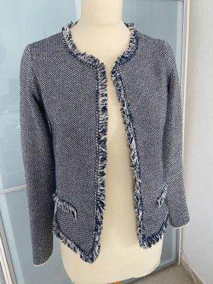 Cocogio Giacca in maglia bianco sporco-blu scuro