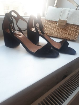 H&M Premium Sandalias de tacón de tiras negro Cuero