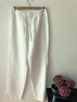 Klassische Leinenhose mit Tunnelzug, gerades Bein, lang