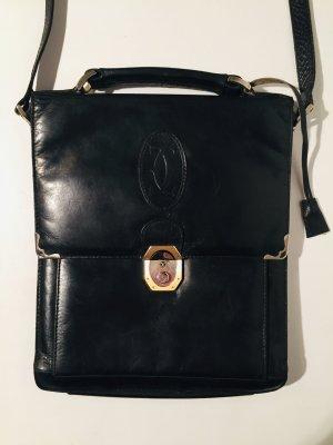 Klassische Original Vintage Cartier Umhängetasche - Leder - schwarz