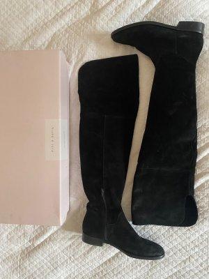 Klassische Overknees Stiefel aus schwarzem Velourleder 38