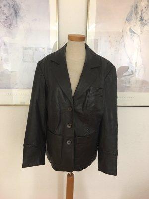 Klassische schwarze Lederjacke / Lederblazer