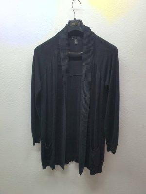 Klassische schwarze Long Strickjacke