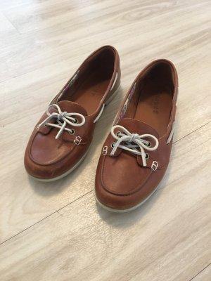 Timberland Zapatos de marinero coñac-blanco Cuero