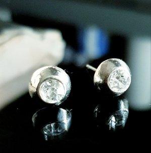 Klassische silberne Ohrringe Ohrstecker aus Edel stahl  8mm