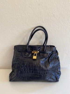 Frame Bag dark blue leather