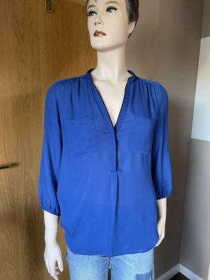 H&M Blouse met opstaande kraag blauw Viscose