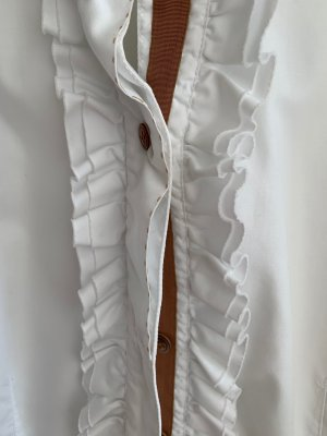 Caliban Long Sleeve Blouse white-cognac-coloured cotton