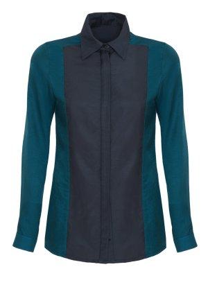 Klassische zweifarbige Bluse, colorblocking petrol 38