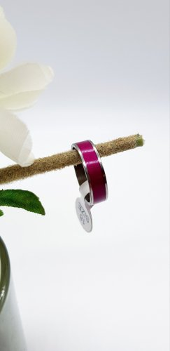 Partner Ring silver-colored-magenta
