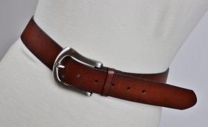Klassischer Ledergürtel Größe 85 Cognac Braun Silberfarbene Metallschnalle Western