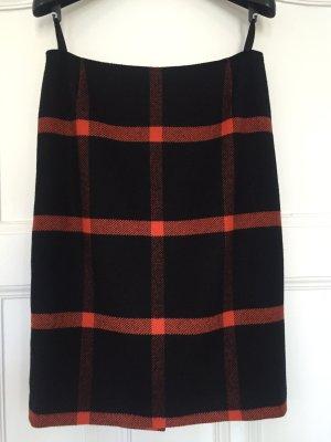 Madeleine Falda de lana negro-naranja oscuro Lana