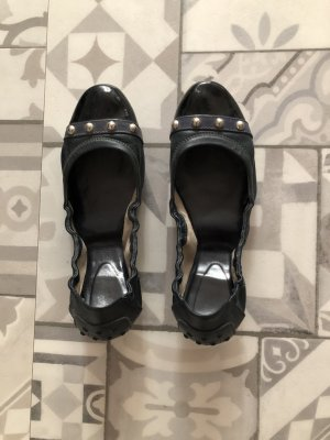 Tod's Patent Leather Ballerinas black-dark blue leather