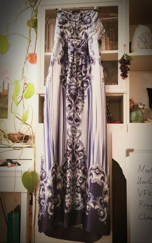 Klassisches Abendkleid blau weiß lang M 38