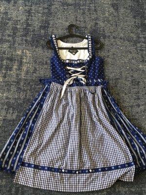Dirndl bleu-blanc coton