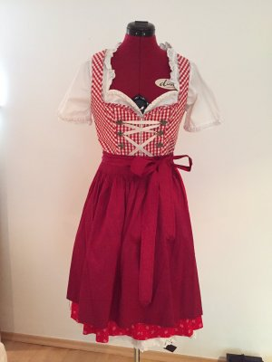 Angermaier Dirndl dark red-white cotton