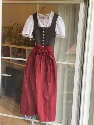 Hammerschmid Dirndl dark grey-dark red cotton