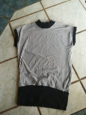 Vintage Top con colletto arrotolato bianco-nero