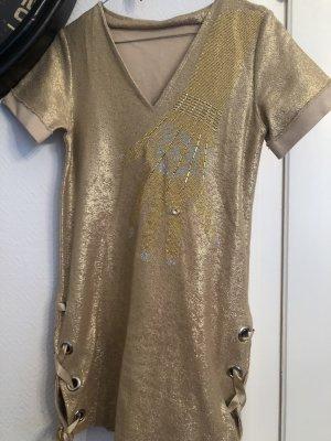 Vestido estilo camisa color oro