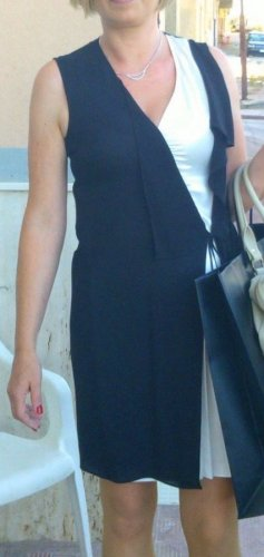 Liu jo Vestido cruzado negro-blanco puro Seda