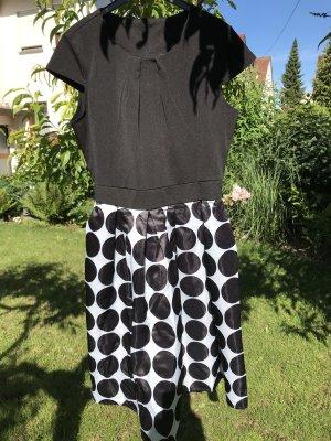 Babydoll-jurk wit-zwart