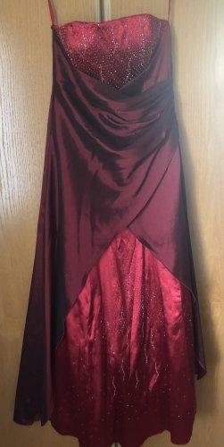 100% Fashion Robe de bal rouge brique coton