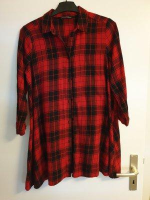 Zara Vestido de tela de sudadera rojo oscuro