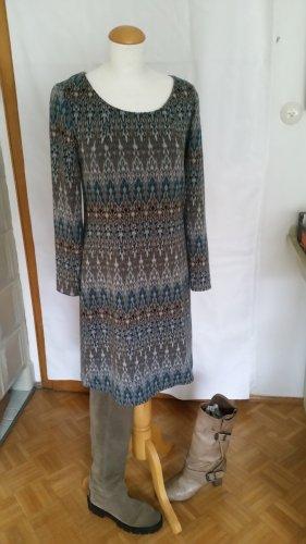 Yessica Robe en jersey bleu pétrole-gris brun