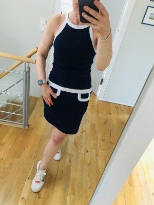 A.J.Morgan A-lijn jurk donkerblauw-wit