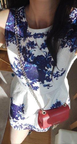 Kleid 34 XS Weiß Dunkelblau Blumenprint
