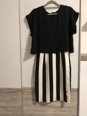 H&M Kokerjurk wit-zwart