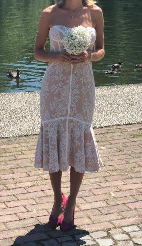 Jarlo Kanten jurk wit-nude