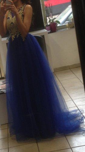 Vestido de noche color oro-azul