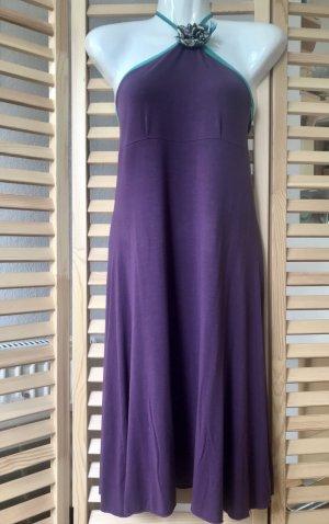 Sukienka z dekoltem typu halter fiolet-turkusowy Bawełna