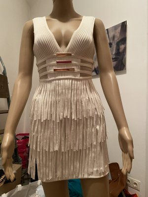 Fringed Dress white-gold-colored