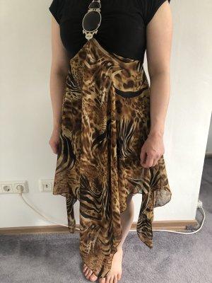 Sukienka z rękawem balonowym czarny-brąz