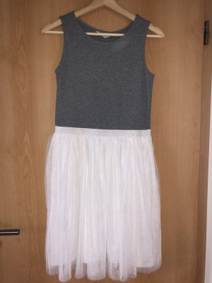 H&M Basic Vestido de baile gris-blanco