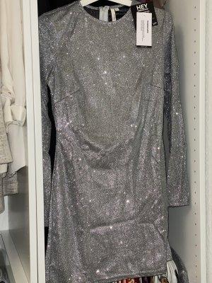 Kleid A-Linie Silber Gr. 34
