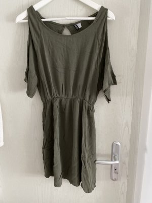 H&M Vestido cut out caqui
