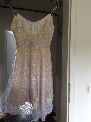 Szyfonowa sukienka w kolorze różowego złota-srebrny