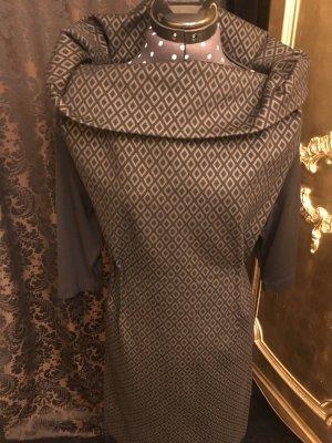 Vestido elástico marrón-negro