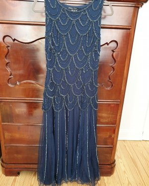 Kleid Abendkleid 20er Jahre blau Pailletten Silber glitzer Maxikleid