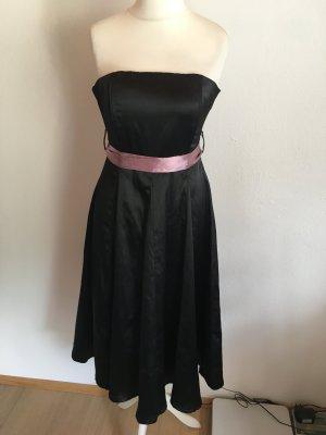 Kleid Abendkleid Bandeau schwarz mit flieder Gürtel Gr. 36