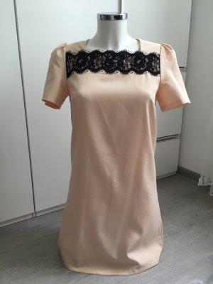 Kleid Abendkleid beige mit Spitze kurzärmlig S