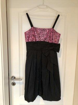Reber Sukienka z rękawem balonowym czarny-różowy