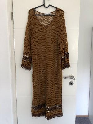 Zara Fringed Dress bronze-colored